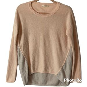 Duffy Pink and Grey Two Tone Cashmere Sweater Size Extra Small